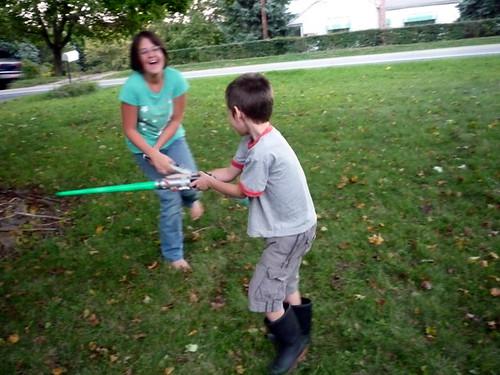 Lightsaber and Nerf Gun battles