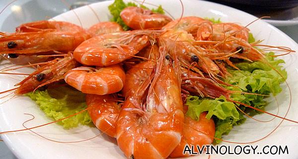 Succulent steamed prawns