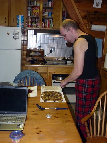 Bobby makes breakfast