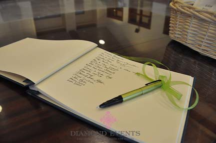 Guestbook at St. Mary's Catholic Church wedding
