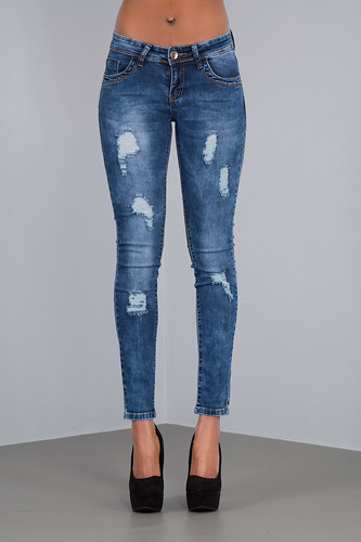 navy sexy frayed rip faded skinny jeans