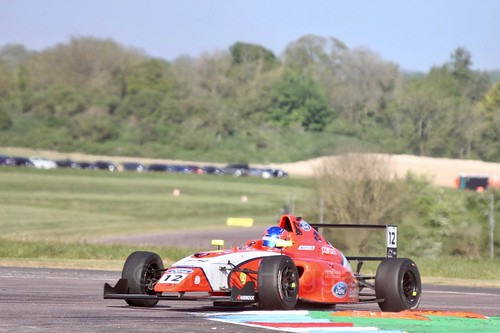 Ayrton Simmons in British Formula Four at Thruxton, May 2017