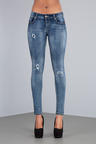 studded glam navyblue ripped faded jeans