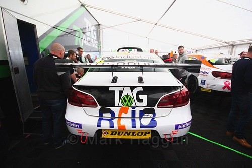 Jake Hill's Team Hard car in the garage at Oulton Park, May 2017