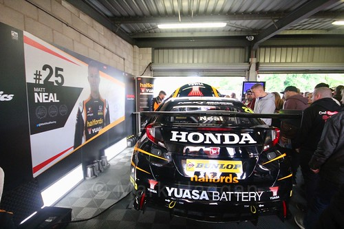 Inside the Team Halfords garage at Oulton Park, May 2017