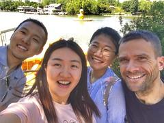 Meng Zhang, Quichen Li, Xiaoen Ding, and I (L to R) at Zizhuyuan in Beijing.