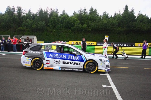 Ash Sutton on the BTCC grid at Croft, June 2017