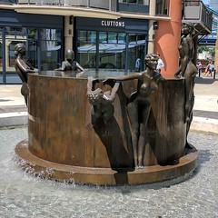 The new fountain in Courage Square is finally ready