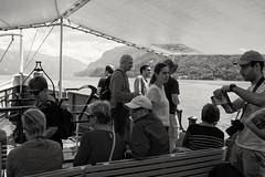 Passengers on board paddle steamer Lötschberg, on passage from Interlaken to Brienz.