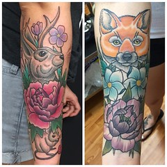 Added the piece on the left to this sleeve in progress. #sleeveinprogress #chicocalifornia #girlswithtattoos #tattoo #workinprogress #colortattoo #jackalope #fox #jackalopetattoo #foxtattoo #flowertattoo #chicoca #chico #eyeofjade