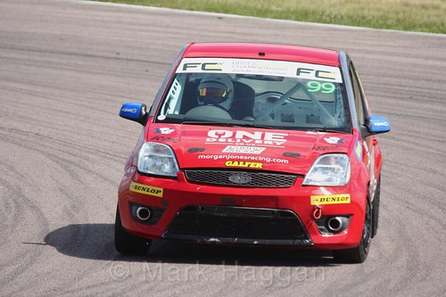 Morgan Jones in the Fiesta championship Class C at Rockingham, June 2017