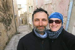 Us between walls in Korcula