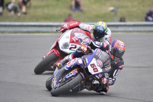 Michael van der Mark leads Leon Camier in World Superbikes at Donington Park, May 2017