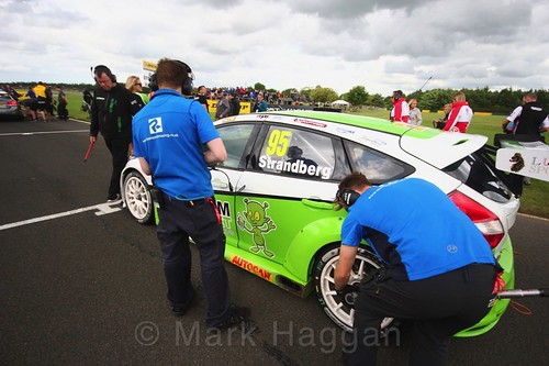 Dennis Strandberg on the grid during the BTCC weekend at Croft, June 2017