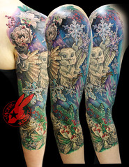 Winter Snow Snowflake White Owl Wings Flowers Lilies Lily Ice Northern Lights Sky Color Realistic 3d Sleeve Tattoo by Jackie Rabbit