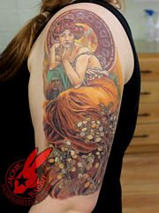 Mucha Topaz Gemstone Series Woman Pin Up Color Tattoo Art Fine Art Sleeve by Jackie Rabbit