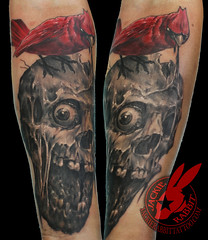Skull Zombie Red Cardinal Bird Portrait Realistic Creepy 3D Tattoo by Jackie Rabbit