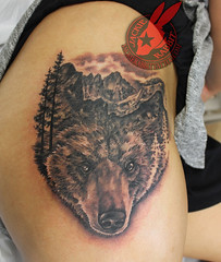 Realistic California Grizzly Bear Face Majestic Nature Mountain Pine Tree Forest 3D Scene Tattoo by Jackie Rabbit