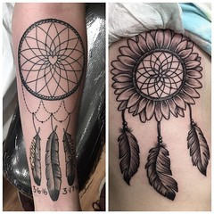 Two dream catchers made recently #dreamcatcher #dreamcatchertattoo #girlswithtattoos #sunflower #sunflowertattoo #feathertattoo #feathers #sidetattoo #forearmtattoo #eyeofjade #chico #chicoca #chicostate