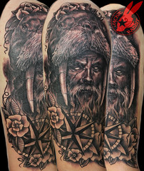 Old Man Viking Portrait 3d Realistic Walrus Seaman Sailor Black and Grey Sleeve Tattoo by Jackie Rabbit