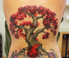Red Leaf Cherry Tree Blossom Realistic Wicca Spiral Magic 3D Bonsai Back Tattoo by Jackie Rabbit
