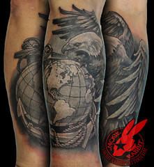 Marines Marine Eagle Globe and Anchor Realistic Semper Fi Military American 3D Tattoo by Jackie Rabbit