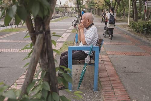 葉笛- 寬闊的公園內傳來尖銳的音符,跟著聲音過去發現是位老先生用葉子吹出旋律,吹的是什麼曲我不曉得,聽起來像是很古早的曲調,雖是古早的曲調,但聽來卻不俗氣,我站的遠遠的拍了一張,就怕太靠近掃了他的雅興。