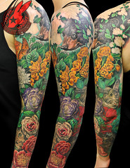 Flower Garden Red Poppy Rabbit Black Bear California Cat Peony Color Realistic Realism 3D Sleeve Tattoo by Jackie Rabbit