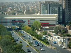 Tabriz floating shopping mall above highway, Iran