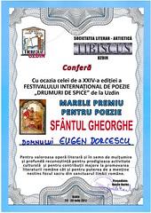 Diploma lui Eugen Dorcescu, obţinută la Uzdin