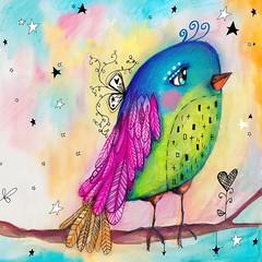 I have this little birdie as my screensaver on my phone. :) love her so much tweet tweet. :) #willowingarts #willowing #mixedmedia #tamfb #artistsofinstagram