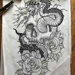 Homework. Lemme at ya! Would make a good large scale back or leg piece. Would would like to make me a happy lad and get started on this?  #snake #skull #roses #darkartists #blacktattoo