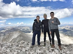 On top of Mount Princeton with Hieu Nguyen (L) and Ngoc Nguyen (R) looking west. This was Ngoc's first 14er :)