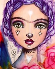 A little more progress on #Frida :) #artistsofinstagram #willowingarts #willowing #mixedmedia #traveljournal #travelart