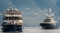 Tourist Cruise Boat &  -Kiss- (Super Yatch - 46m)  Fiskardo Harbour - Kefelonia (Greece) (Olympus OM-D EM1-II & M.Zuiko 40-150mm f2.8 Pro Telephoto Lens) (1 of 1)