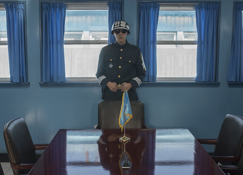A South Korean soldier stands guard inside the Joint Security Area conference room in the border village of Panmunjom between South and North Korea at the Demilitarized Zone (DMZ) on October 14, 2017 in Panmunjom, South Korea