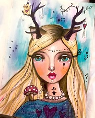 Have been very moved and touched by my week in Poland. While processing all the learnings this evening this deer girl came forth. She is meaningful to me. :) ❤️ #deergirl #deermagic #willowing #travelart #willowingarts #mixedmedia #mixedmediaart
