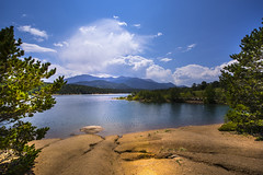View from Crystal Creek Reservoir to Pikes Peak - Colorado - USA