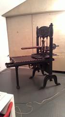 Torchio Loser tipografico con due barre di torsione per la pressione datato 14 marzo 1848