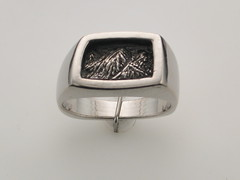 The Rockies SS asymetrical cushion gent's ring