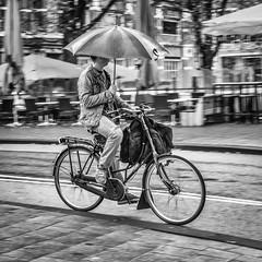 Cyclist with umbrella Amsterdam.