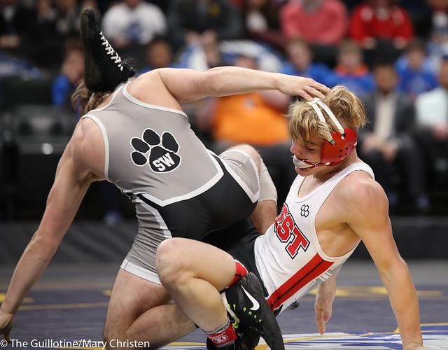 1st Place Match - Jackson Stauffacher (Scott West) 50-4 won by decision over Charlie Pickell (Mankato West) 47-3 (Dec 3-2). 180303CMC6455