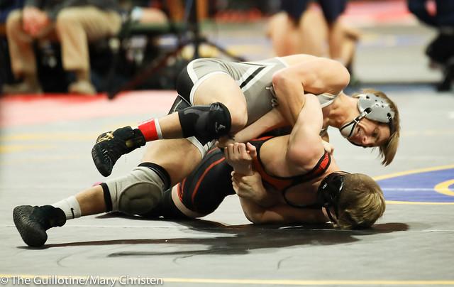 120 - Justin Stauffacher (Scott West) over Caydon Lehman (Grand Rapids) Fall 1:03. 180301BMC3557