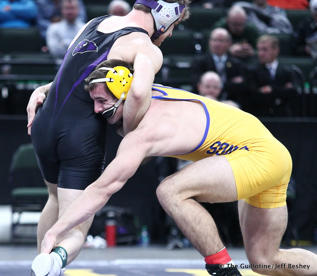 1st Place Match - Trey Rogers (Hastings) 49-0 won by major decision over Jacob Scherber (Buffalo) 34-2 (MD 17-7). 180303CJF0735