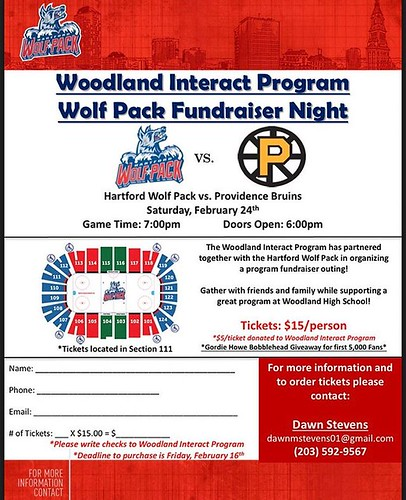 Woodland's interact club is selling hockey tickets to a Hartford Wolfpack game. The tickets are $15 each and $5 from each ticket will go to interact. If you are interested in buying tickets, please contact or give your money to Sra. Warren or Dawn Stevens