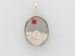 The Rockies - 14KW & 3.2mm Red Orange Sapphire Pendant