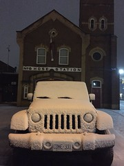 Firehall and Jeep after light snow