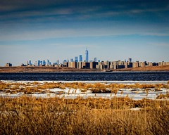 View of Brooklyn and the Manhattan skyline from Jamaica Bay Wildlife Refuge.