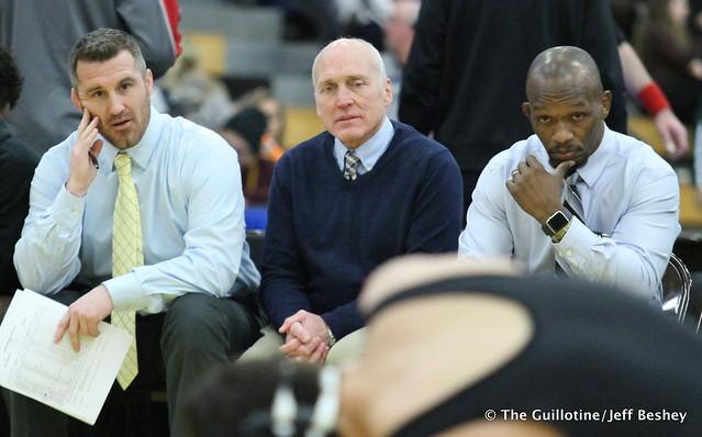 Apple Valley Coaches Josh Barlage, Dalen Wasmund, and Rudy James. 171229AJF0103