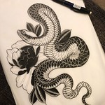 Another one ready to go. Who would like to give me a thigh? Or tag someone you think might like something like this :) #art #tattoo #blackandgrey #snake #peony #japanese